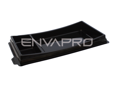 ENVASE RECTANGULAR SUSHI BASE NEGRA 195 x 113 x 17/23mm