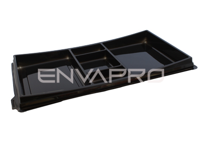 ENVASE RECTANGULAR SUSHI BASE NEGRA 273 x 150 x 17/25mm