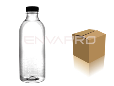 CAJA BOTELLA REDONDA LISA 34oz 1000ml TRANSP. CON TAPON 50 uds