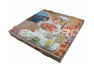 CAJA PIZZA DECORADA 345 x 345 x 35mm