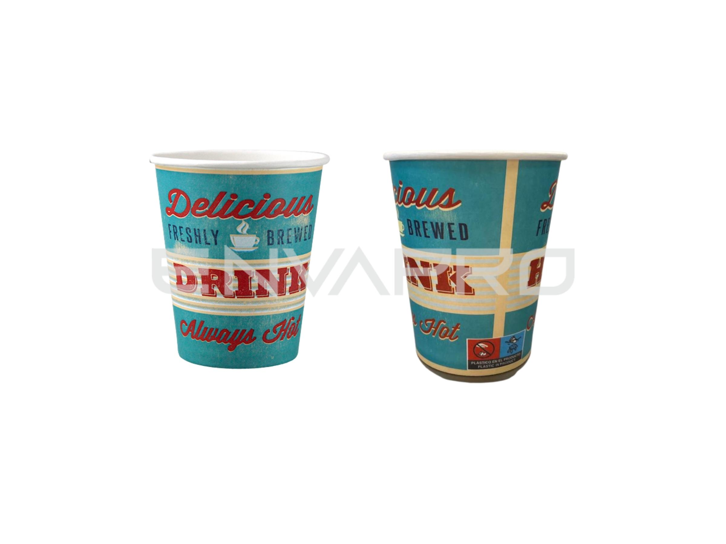 VASO CARTÓN HAPPY ALTO GRAMAJE 8 oz. 237 ml.