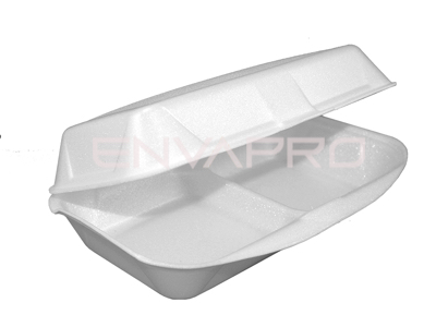 ENVASE POREX 2 COMP.  RECTANGULAR BLANCO 240 x 160 x 75mm