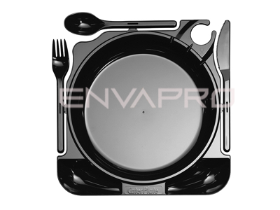 PLATO CATERPLATE NEGRO CON CUBIERTOS 270x260 mm