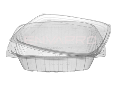 ENVASE PLA RECTANGULAR DELI CON TAPA 24 OZ 710 ML