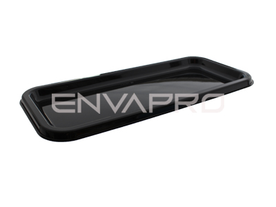 PLATO RECTANGULAR ALARGADO CATERING PET NEGRO 350 x 160mm
