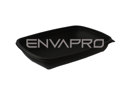ENVASE PP RECTANGULAR NEGRO 600ml