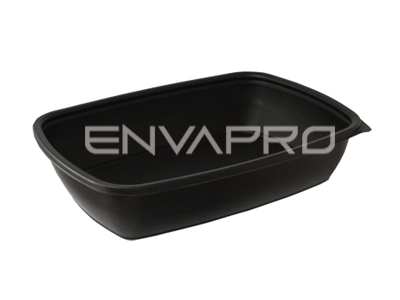ENVASE PP RECTANGULAR NEGRO 900ml