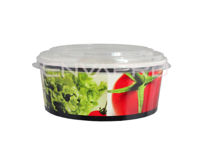 TARRINA CARTÓN MEDIANA DECORADO ENSALADA 25oz 775ml 150/130 x 60mm