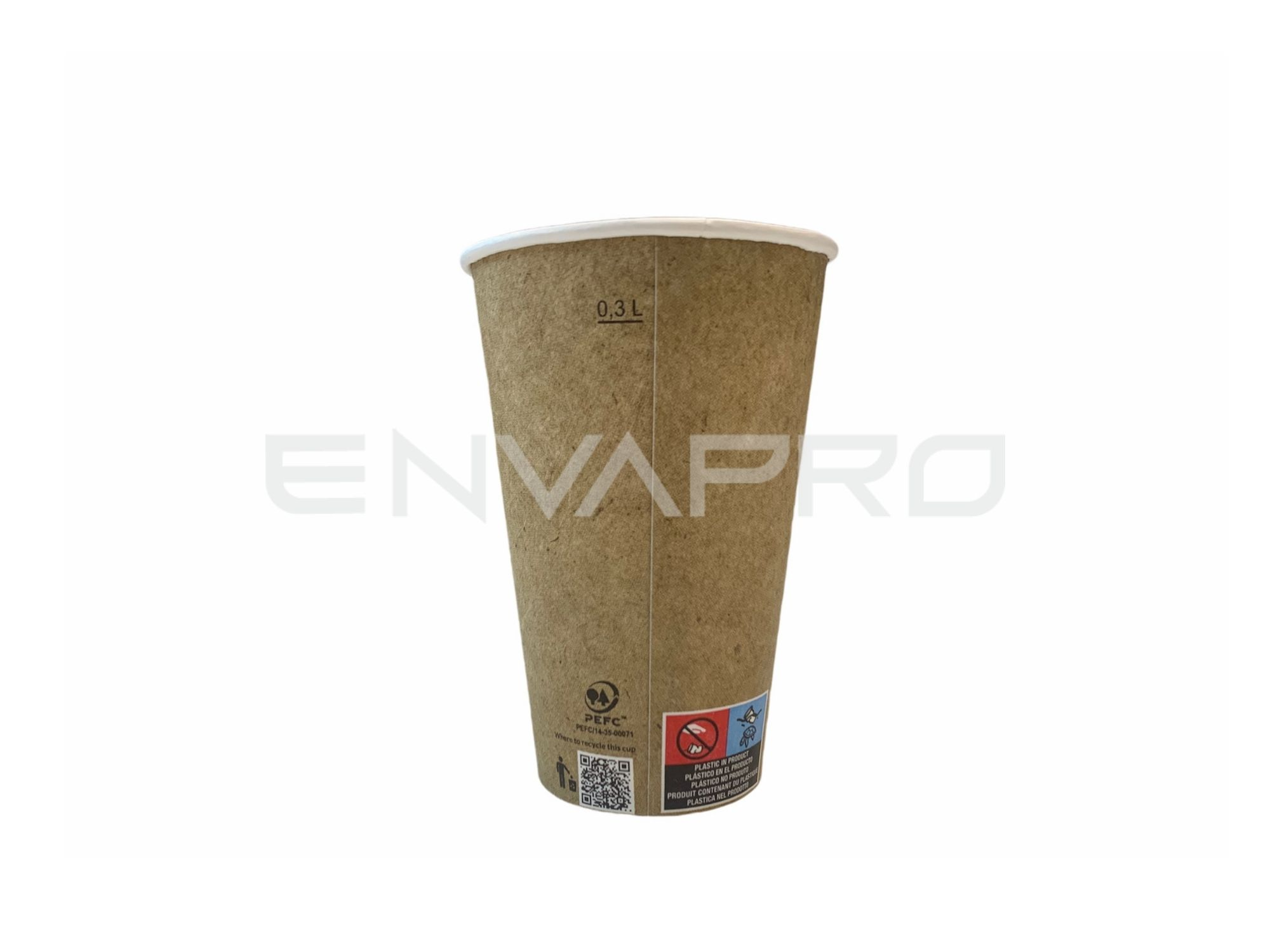 VASO CARTÓN PARED GRUESA KRAFT ALTO BOCA DE 8 cmØ 12oz