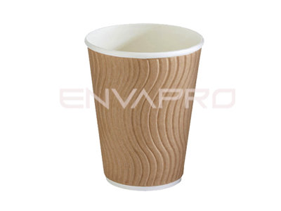 VASO CARTÓN DOBLE PARED ONDULADA KRAFT 12oz 355 ml