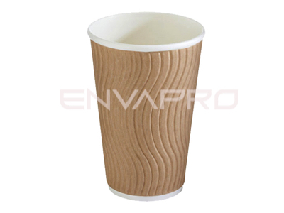 VASO CARTÓN DOBLE PARED ONDULADA KRAFT 16oz 473 ml