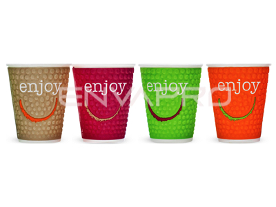 VASO CARTÓN DOBLE PARED DECORADO ENJOY 8oz 237ml