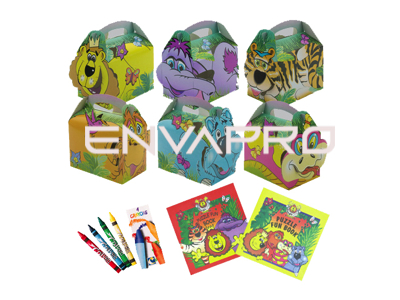 CAJA CARTÓN PORTAMENU KIT INFANTIL JUNGLE LION 152 x 100 x 102mm MAS A2 POSTER 420 x 594mm