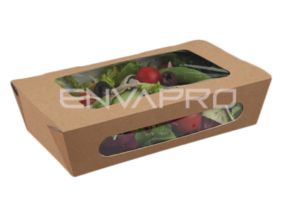 ENVASE RECTANGULAR KRAFT CON 2 VENTANAS 35oz 1035ml 200/180 x 120/100 x 50mm