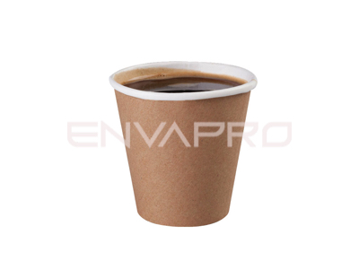 VASO CARTÓN PARED GRUESA KRAFT 6oz 177ml BOCA 8 cmØ COMPOSTABLE