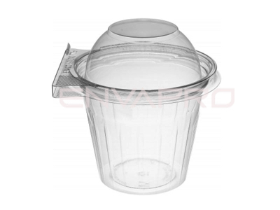 VASO PET TAPA CÚPULA INVIOLABLE 12oz 350ml